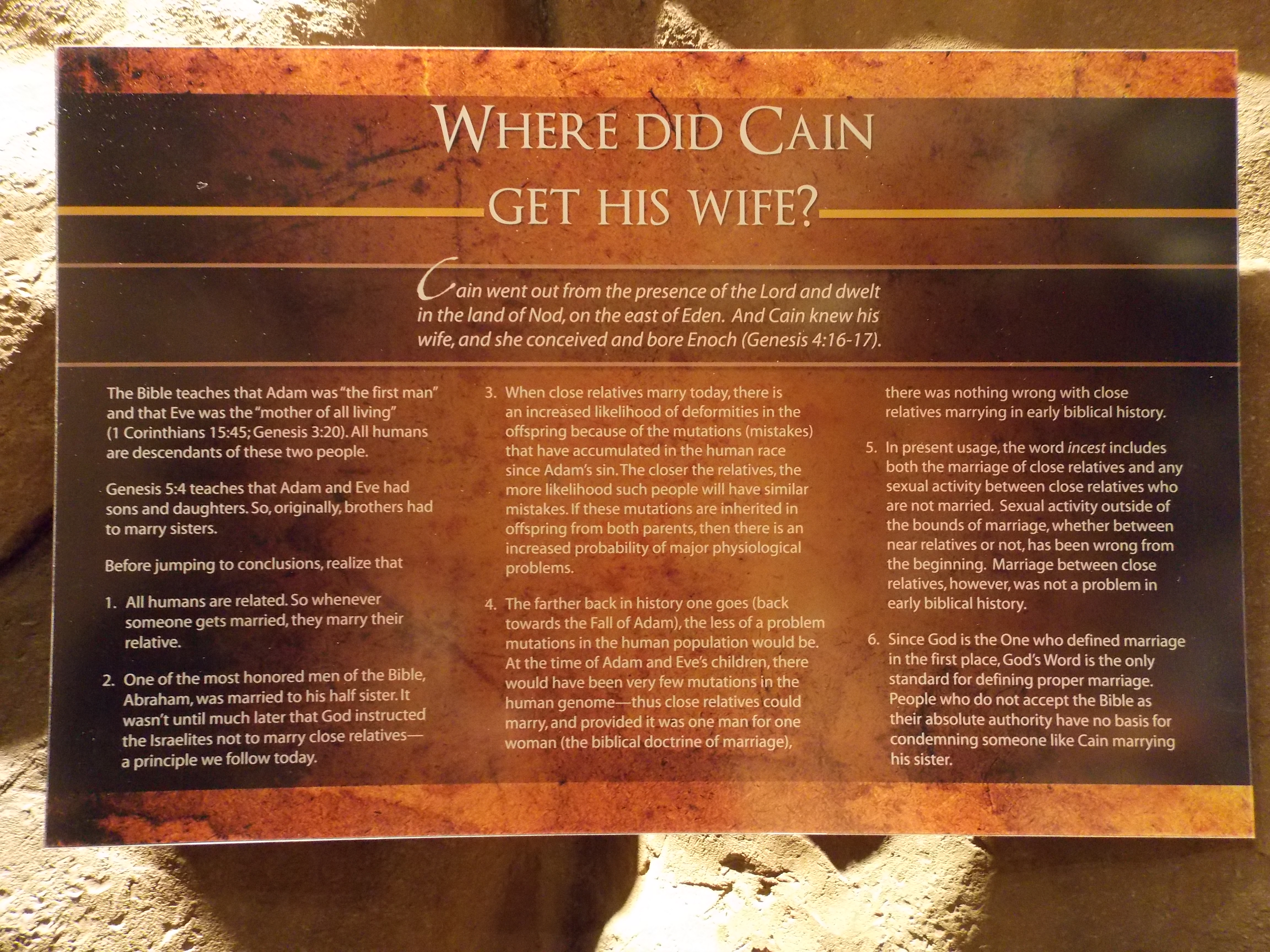 a visit to the creation museum part 1 the problem