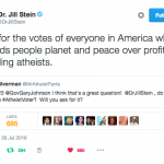 The Green Party's Jill Stein welcomes the atheist vote