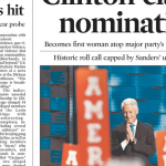 Hillary Clinton wins historic nomination and a newspapers put Bill Clinton on the cover