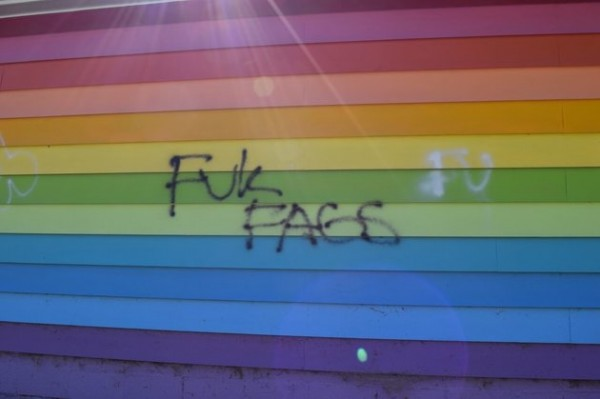 Bullet holes and graffiti found on The Equality House across from Westboro Baptist Church