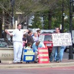 Death Penalty Protest, Birmingham, Ala. My friend, the Rev. R.G. Wilson-Lyons pictured with sign
