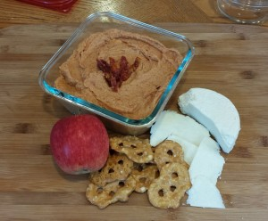 California Hummus with a California Apple, California Queso Cotija (and some pretzels)