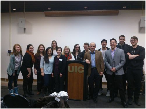 The whole gang: Cru, Secular Student Society, Dan Barker, and Dr. Constantine Campbell after the debate.