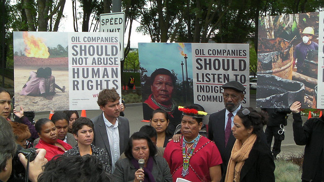 Rainforest Action Network activists and volunteers joined over 150 other protesters outside Chevron's annual shareholder meeting on May 25th, 2011 to call on the company to take responsibility for the environmental devastation and human rights abuses it has caused around the world. Photo credit: Rainforest Action Network. Some rights reserved. flickr.com