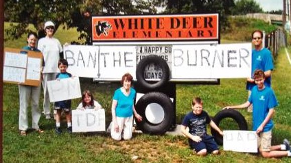 Leah D. Schade (far left) with community activists in 2012 protesting plans for a tire burner in White Deer Township, Pennsylvania. The burner was defeated! Photo credit:  David Young.
