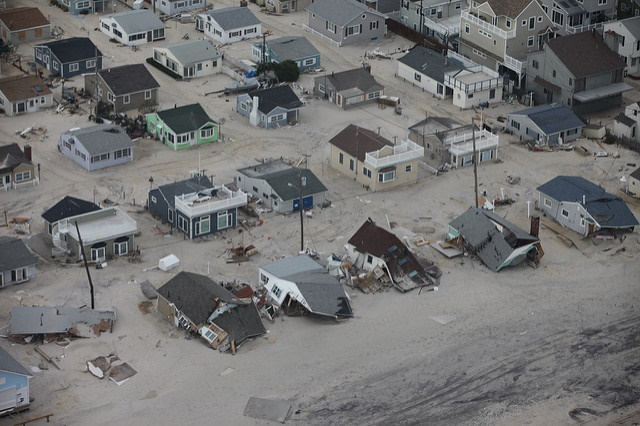 Aftermath of extensive flooding along New Jersey shore Aerial photo of damaged homes along New Jersey shore after Hurricane Sandy. Photo credit: Greg Thompson/USFWS. Public Domain.