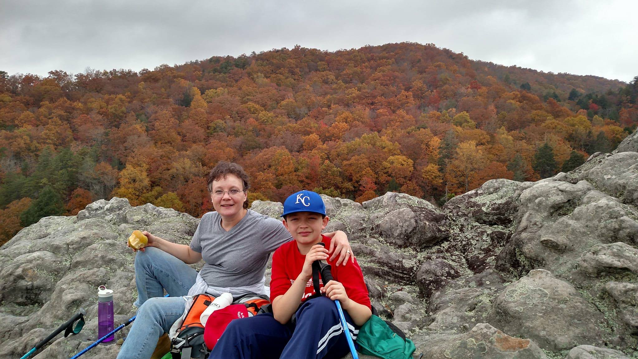 Leah Schade and son Benjamin on Knobby Rock, Blanton Forest, Ky.