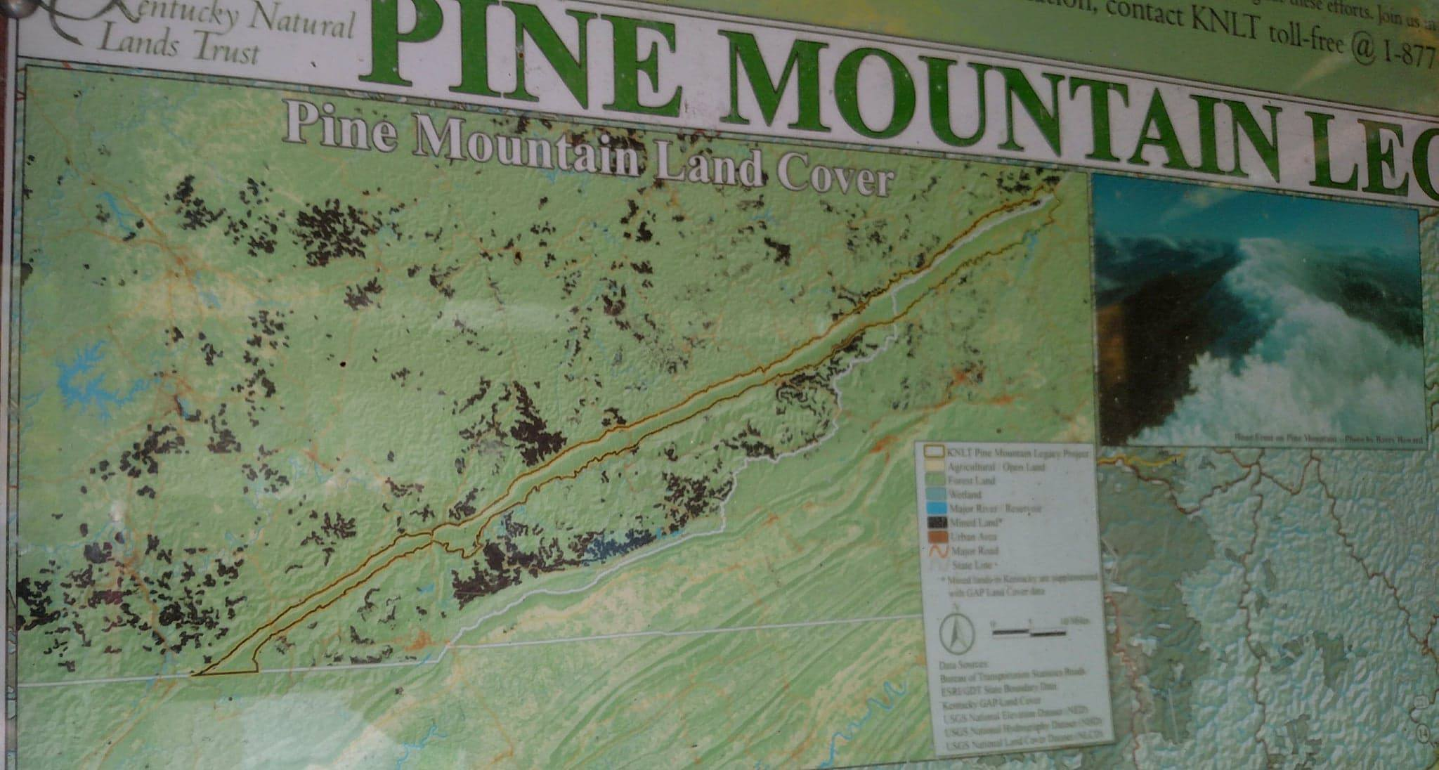 Notice all the mining sites marked in brown on both sides of the Pine Mountain corridor.