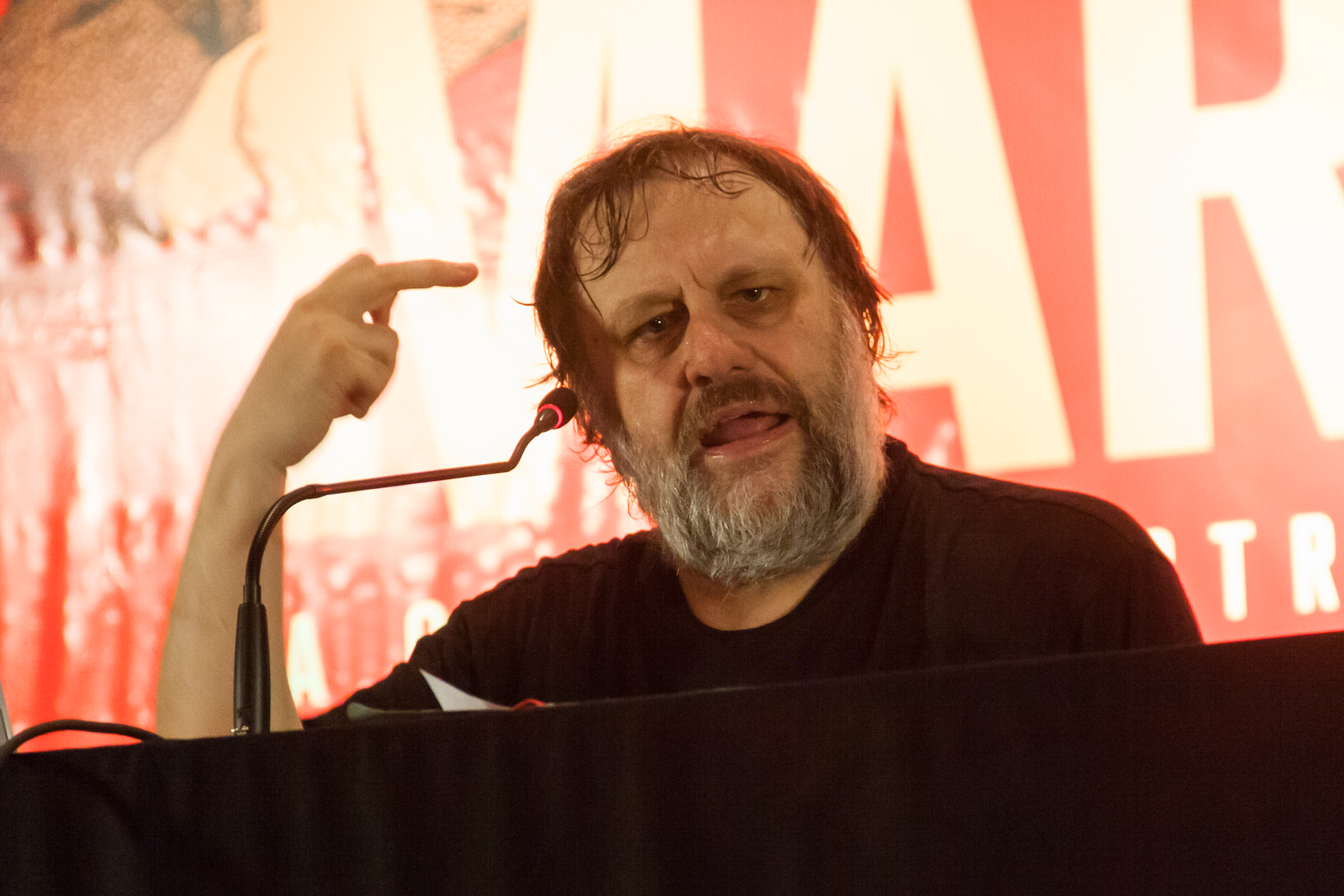Slavoj Žižek - by Palestra Slavoj Žižek, Secom UnB, Foto: Mariana Costa, 12 March 2013, 20:20 (Slavoj_Žižek_2013_8556931759.jpg) (CC BY 2.0 [https://creativecommons.org/licenses/by/2.0/]), via Flickr
