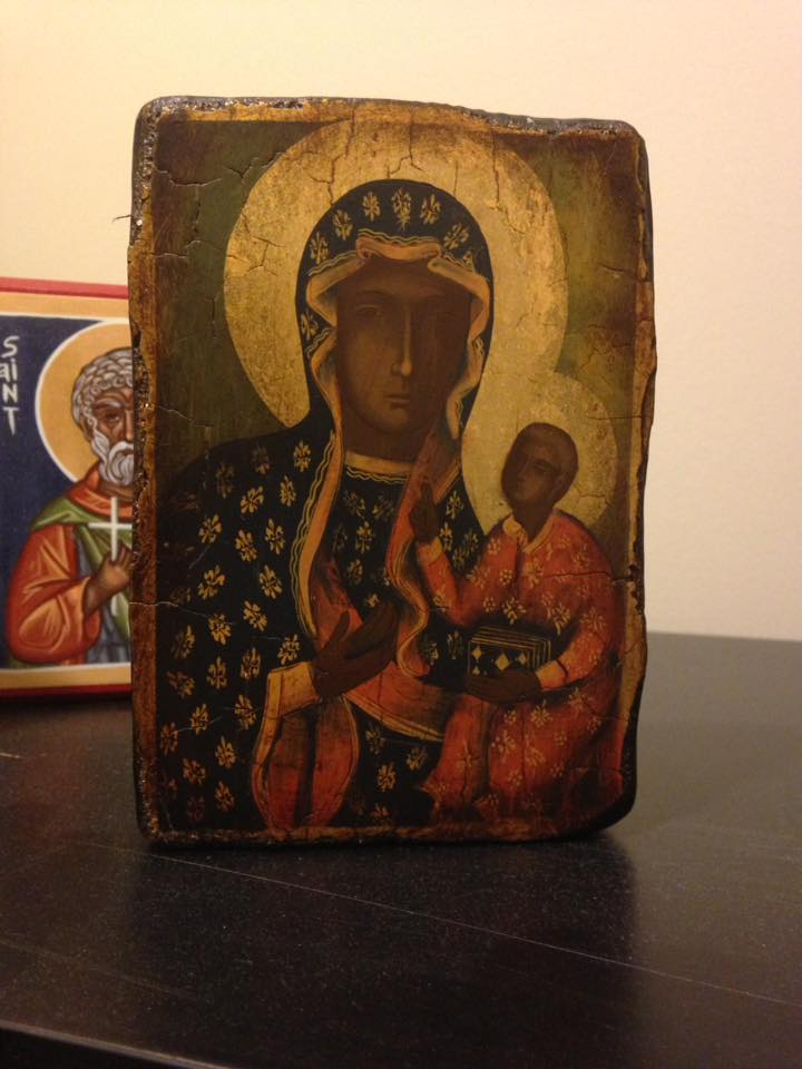 My icon of St Moses the Black, standing behind the Theotokos of Częstochowa - photo by me