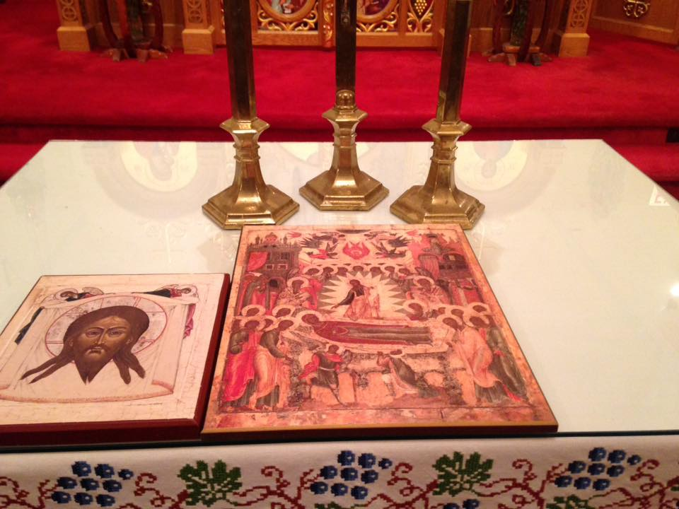 Dormition icon on the tetrapod, Eastern Catholic Church Richmond - photo by me