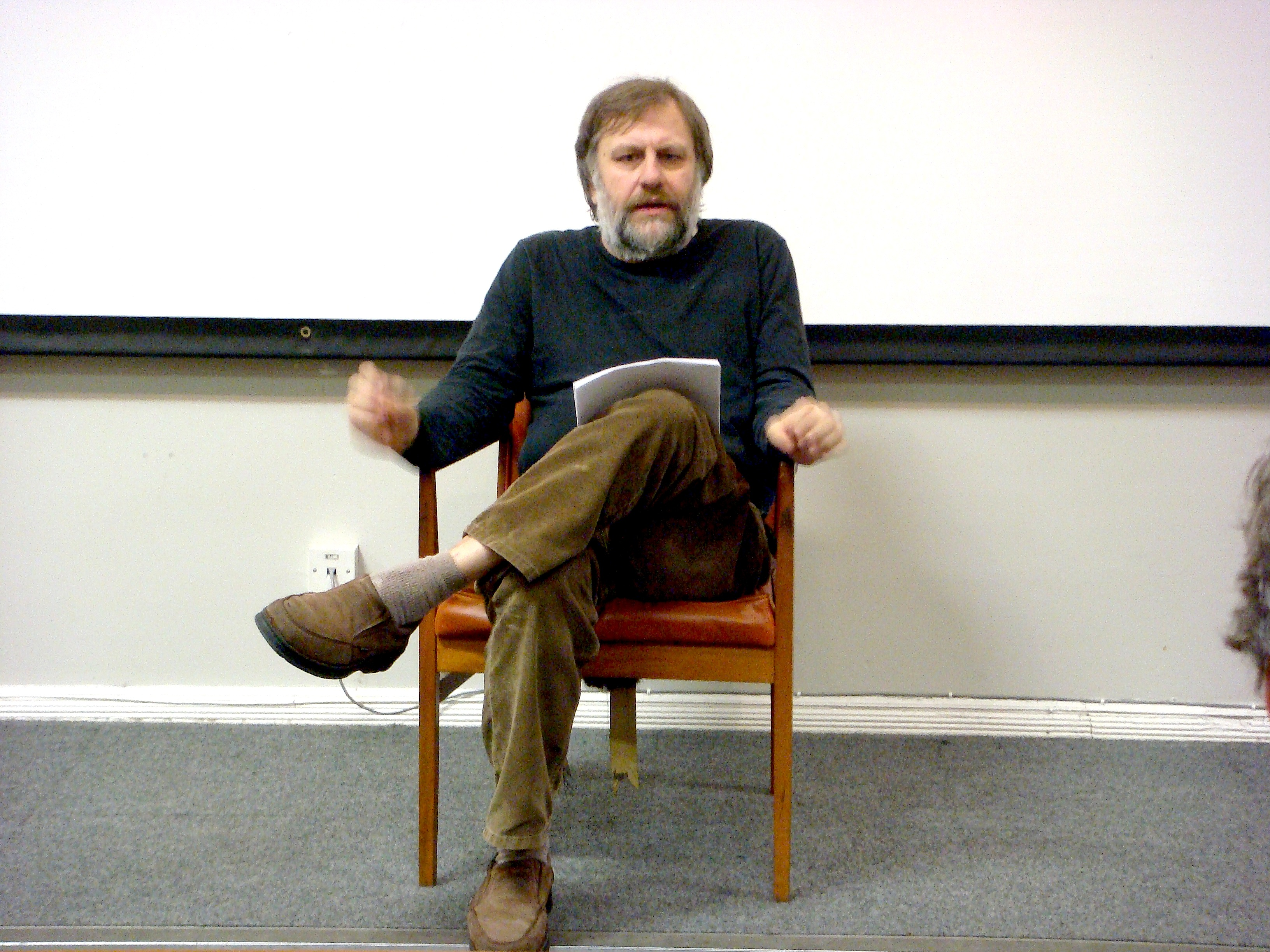 Slavoj Zizek in Liverpool - by Andy Miah, 17 March 2008 (Slavoj_Zizek_in_Liverpool.jpg) (CC BY-SA 2.0 [https://creativecommons.org/licenses/by-sa/2.0/]), via Flickr