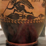 oetian_black-figure_pottery_skyphos_(wine-cup)_found_at_Thebes_4th_century_BC_Odysseus_at_sea_on_a_raft_of_amphoras_Ashmolean_Museum_(8401774652)