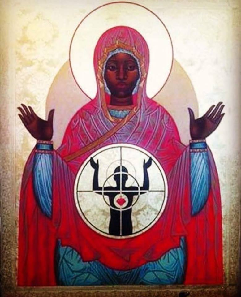 The icon pictured above is of Our Lady of Ferguson written by Mark Dukes (with design assistance from Fr. Mark Bozzuti-Jones).