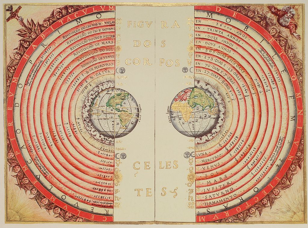 """Description English: Figure of the heavenly bodies - Illuminated illustration of the Ptolemaic geocentric conception of the Universe by Portuguese cosmographer and cartographer Bartolomeu Velho (?-1568). From his work Cosmographia, made in France, 1568 (Bibilotèque nationale de France, Paris). Notice the distances of the bodies to the centre of the Earth (left) and the times of revolution, in years (right). The outermost text says: """"The heavenly empire, the dwelling of God and of all of the elect"""" DateOriginal work, 1568. Photo taken in 2008 SourceOwn work AuthorBartolomeu Velho"""