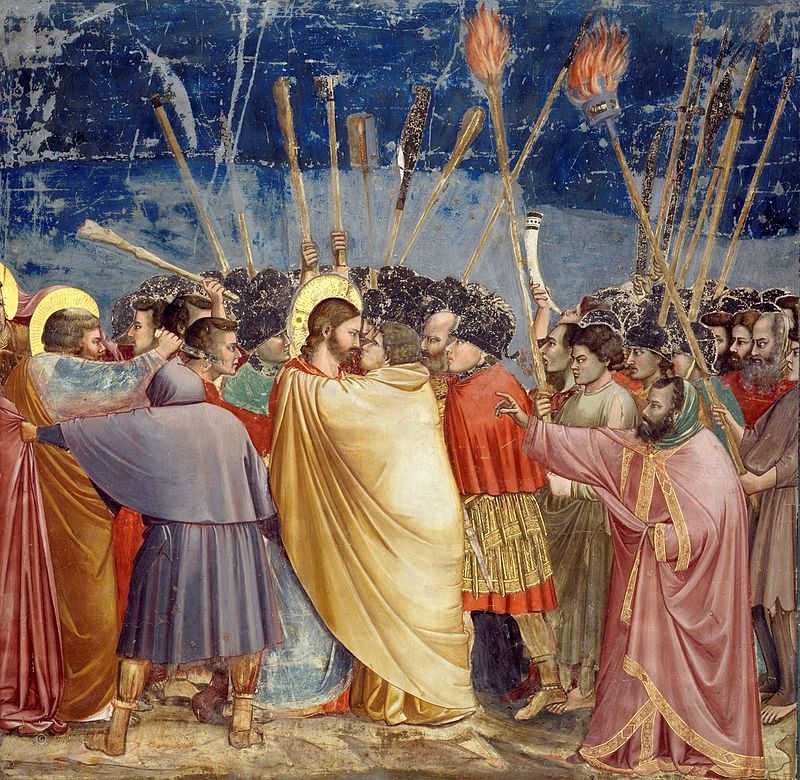 Artist Giotto (1266–1337)  Title	The Arrest of Christ (Kiss of Judas)  Description	 English: No. 31 Scenes from the Life of Christ: 15. The disciple on the left, who wounds a soldier with his knife, is Saint Peter. Date	between 1304 and 1306 (Public Domain)