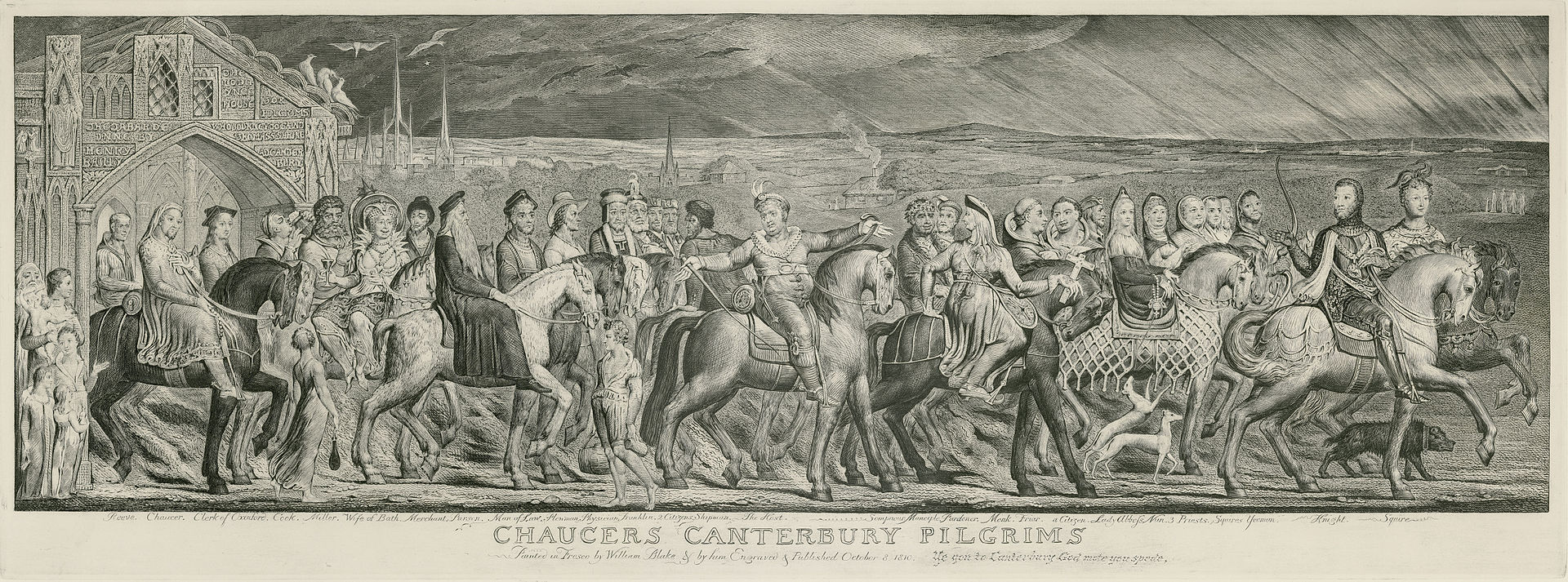 The Canterbury Pilgrims William Blake Public Domain