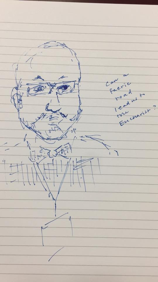 Sketch of me during my presentation by Joanna Penn Cooper