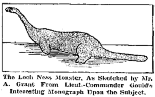 English: Sketch of the Arthur Grant alleged Loch Ness monster sighting in January 1934. DateIn 1934 SourceThere'll Always Be A Monster in Loch Ness. San Antonio Light. 5 October, 1941. AuthorAnonymous Public Domain
