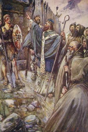 Description English: Columba banging on the gate of Bridei, son of Maelchon, King of Fortriu. Date	1906 (published) Source	Henrietta Elizabeth Marshall, Scotland's Story Author	J. R. Skelton (Joseph Ratcliffe Skelton; 1865–1927) (illustrator), erroneously credited as John R. Skelton Permission (Reusing this file)	 PD-art