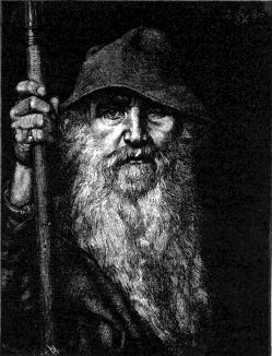 Artist Georg von Rosen  (1843–1923)  Title	Odin Description	 An illustration from Fredrik Sander's 1893 Swedish edition of the Poetic Edda. Reprinted with Erik Brate's 1913 translation which in turn is published by Project Runeberg Source/Photographer	Project Runeberg at http://runeberg.org/eddan/