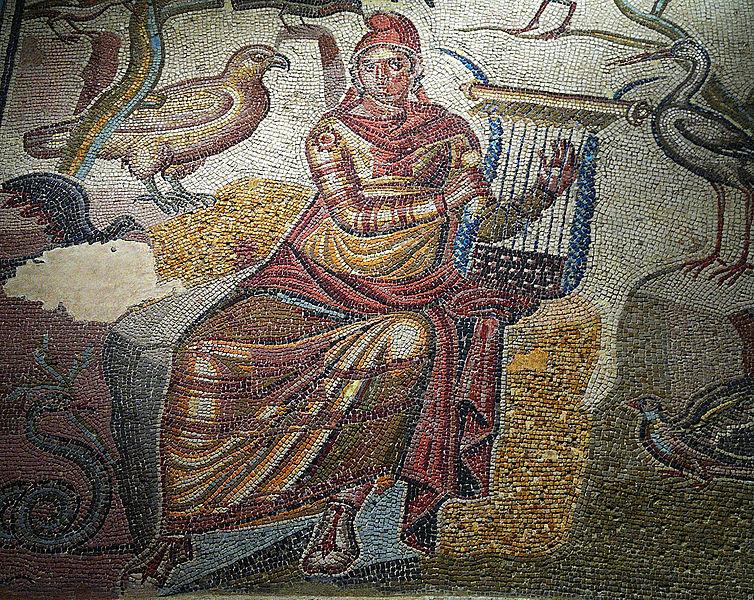 """Description Español: Fragmento del Mosaico de Orfeo, siglos II y III d. C. Polícromo. Pertenece a la llamada """"Casa de Orfeo"""", que estaba situada junto a las murallas romanas cercanas al mercado central de Caesaraugusta. Museo de Zaragoza. Date 9 December 2011, 19:31:31 Source Flickr: Orfeo Author ANA BELÉN CANTERO PAZ (CC BY 2.0)"""