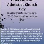 Interview an Atheist at Church Day – May 5