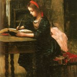 Fillette à l'étude, en train d'écrire by Camille Corot. Is she at home? At school? (Maybe an art historian can help us out.)