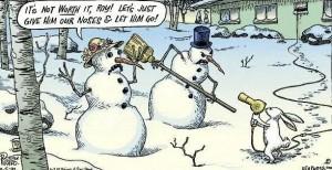 Rabbit robs snowmen