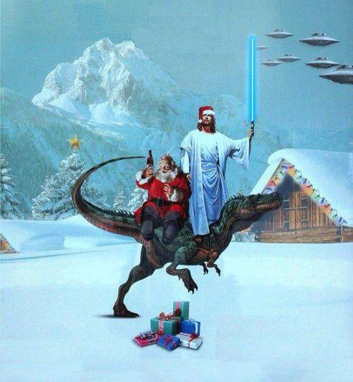 jedi jesus and santa on a dinosaur - Jesus Santa