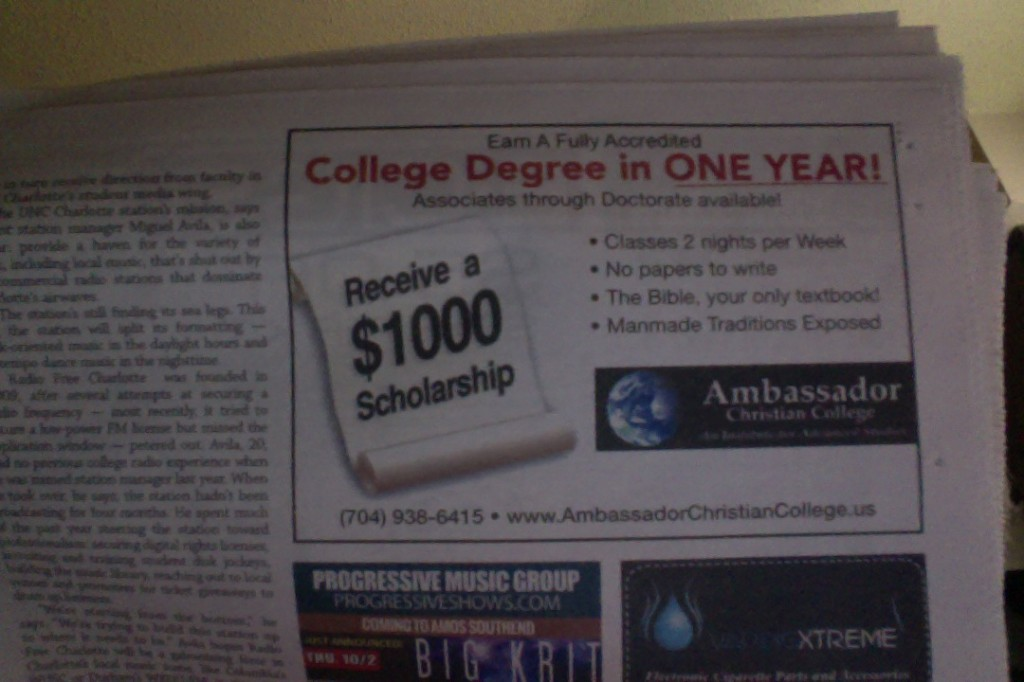 Christian College Ad
