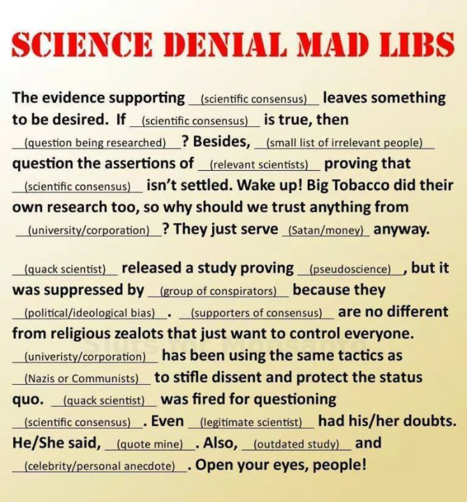 Science Denial Mad Libs