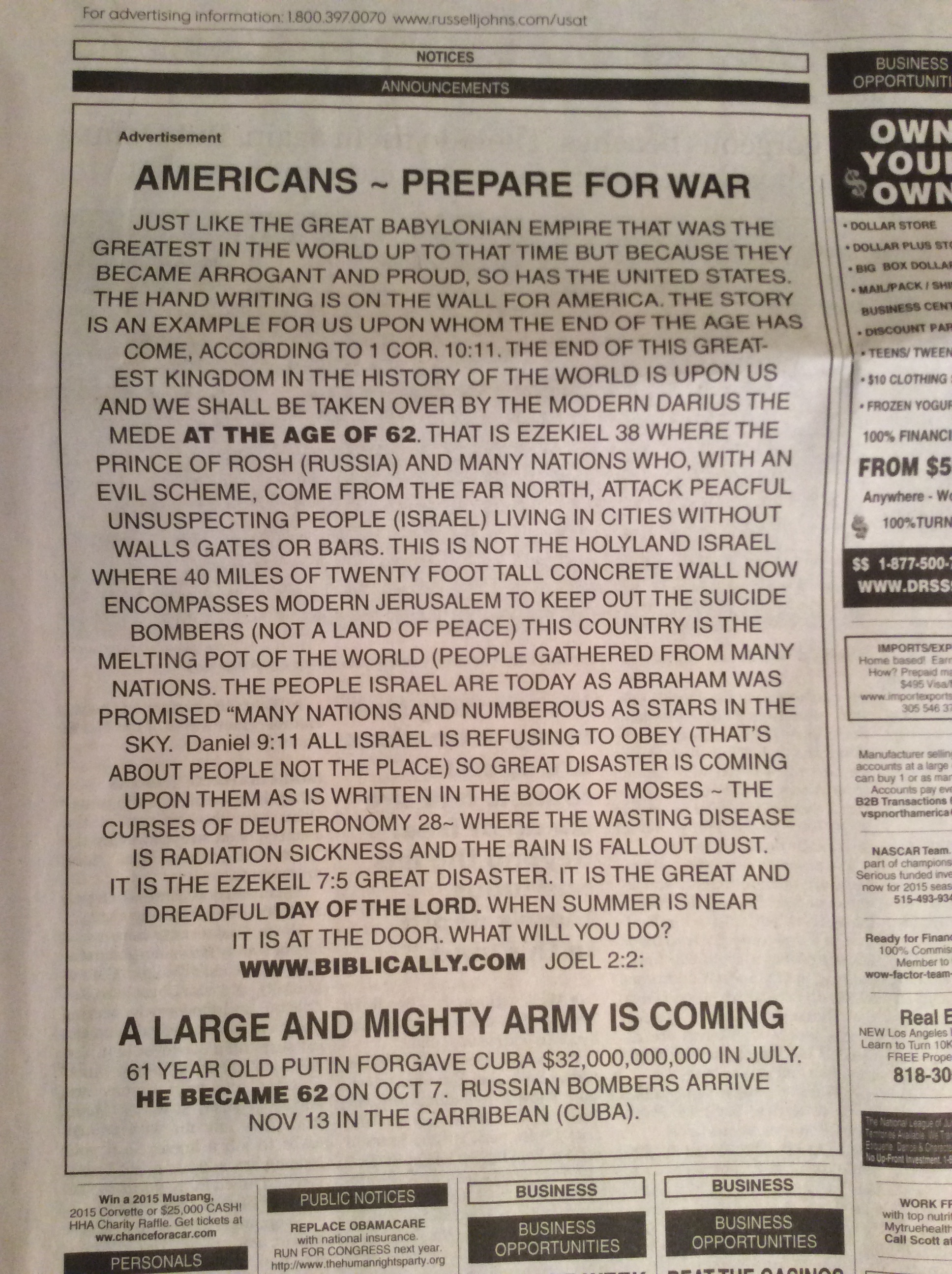 America Prepare for War from USA Today 3-20-2015
