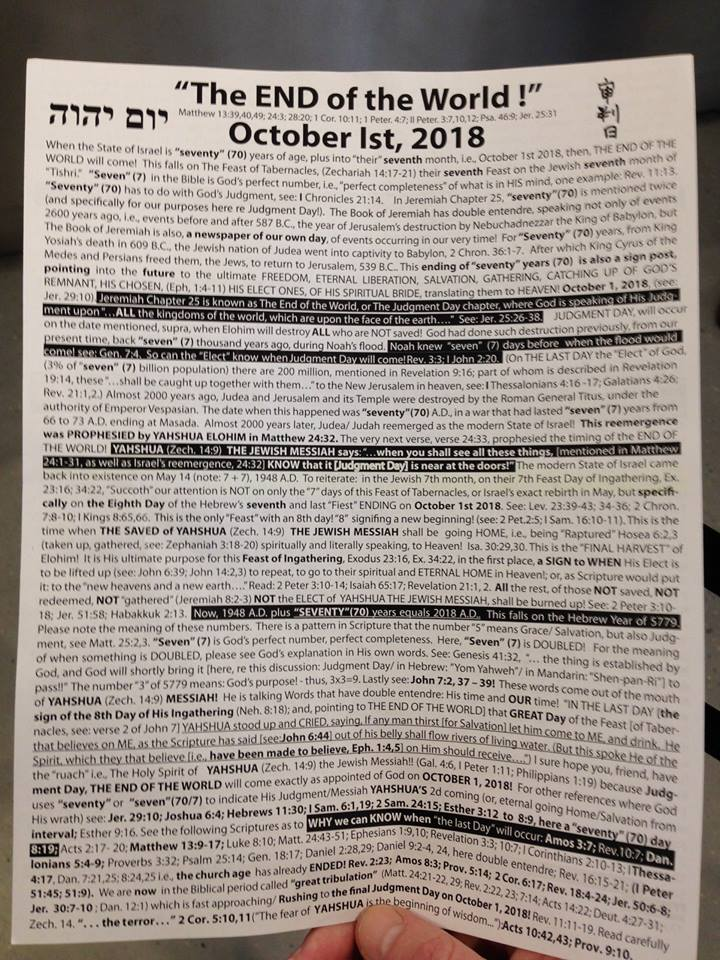 End of the World October 2018