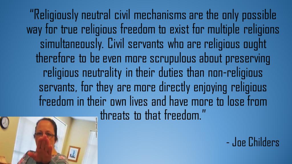 Religiously neutral civil mechanisms Joe Childers quote