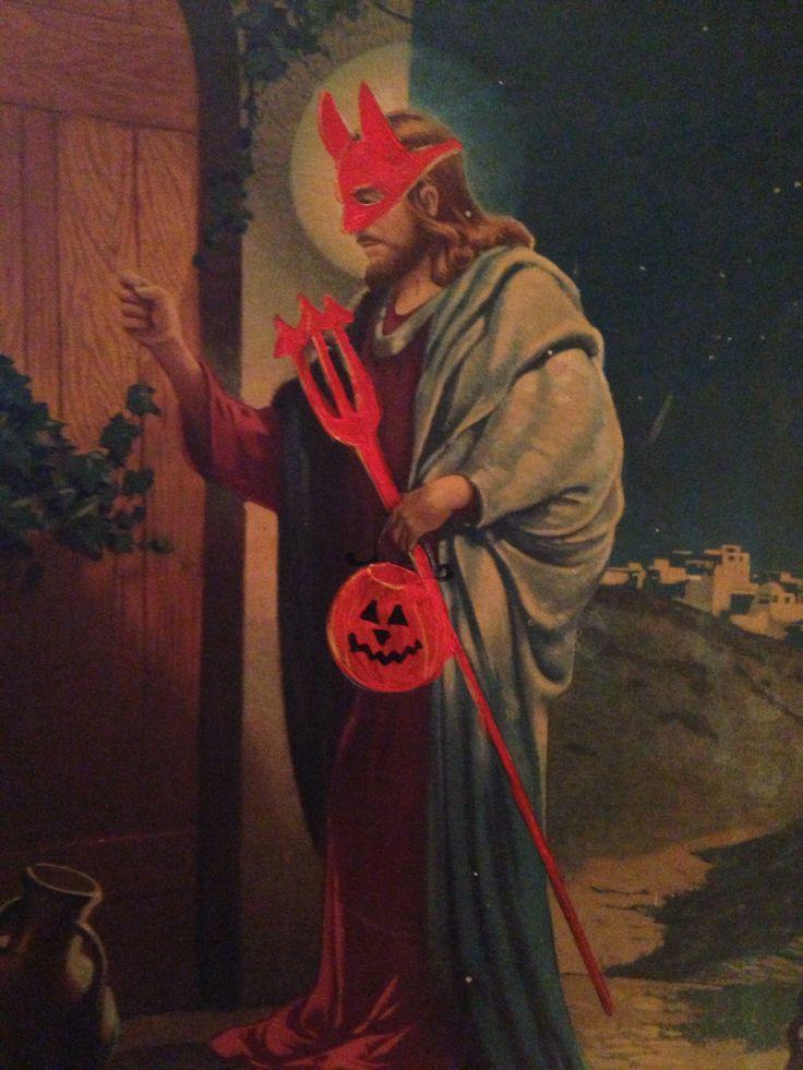 Jesus trick or treat dressed as devil