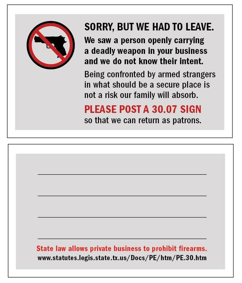 Texas open carry cards