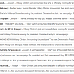 News about Hillary's announcement spread quickly.