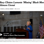Photo and Link to coverage of Hillary Clinton's criminal justice reform talk from New York Times.