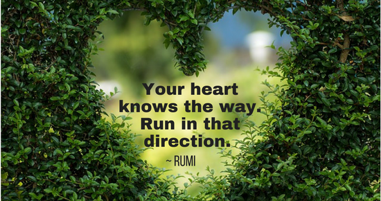 Your heart knows the way. Run in that direction.