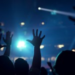 raised hands in worship service
