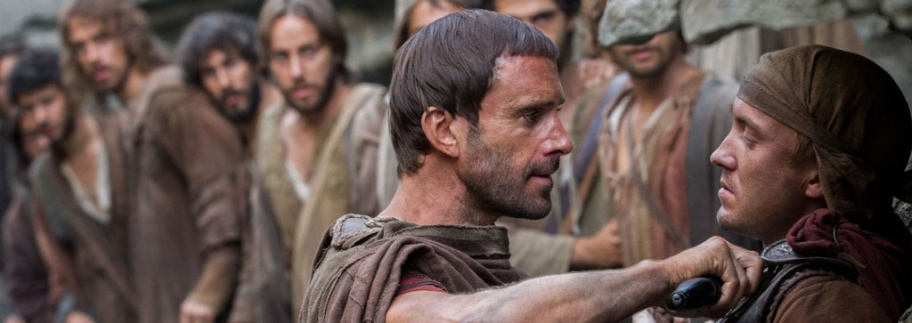 Watch: Tom Felton confronts Joseph Fiennes (and the eleven men Fiennes is protecting) in a new clip from <i>Risen</i>