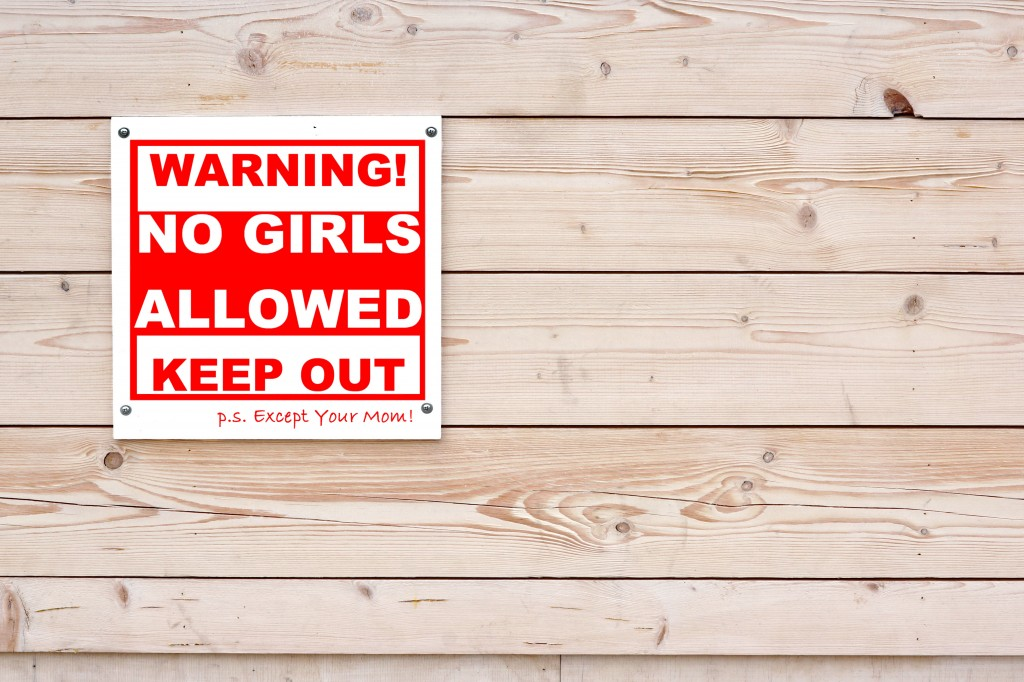 NO GIRLS ALLOWED Red White Warning Sign