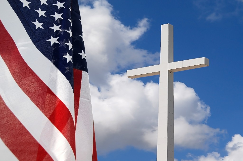 United States flag with Cross indicating God and Country
