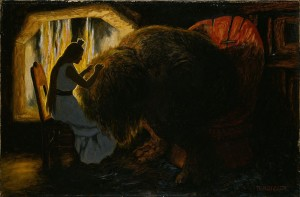 Theodor Kittelsen, The_Princess_picking_Lice_from_the_Troll_-_Google_Art_Project