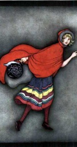 Did you know that not all versions of Little Red Riding Hood even feature the red hood? Image in public domain.