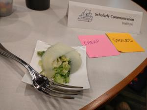 Along with the salad were post-its with conversational prompts.