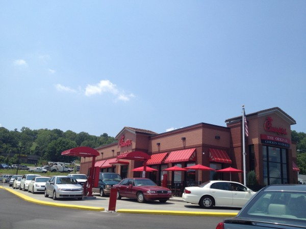 The cars wrapped around the Chick-fil-A in Columbia, Tennessee.  Photo taken from the long line of cars I was stuck in with the kids to even get close to the building.