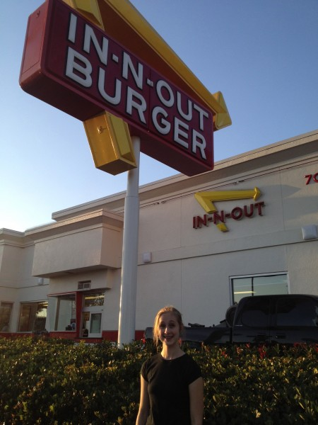 """Believe or not, I'd never been to an """"In n Out Burger.""""  After we ate here, I took this photo with my iPhone which had a Romney 2012 cover.  A man on the street saw my phone, and started following us down the street, using every expletive in the book.  He followed us for blocks, until I decided to confront him.  When I finally turned around, he bolted.  Camille said, """"That was every curse word I knew, and then some!"""""""