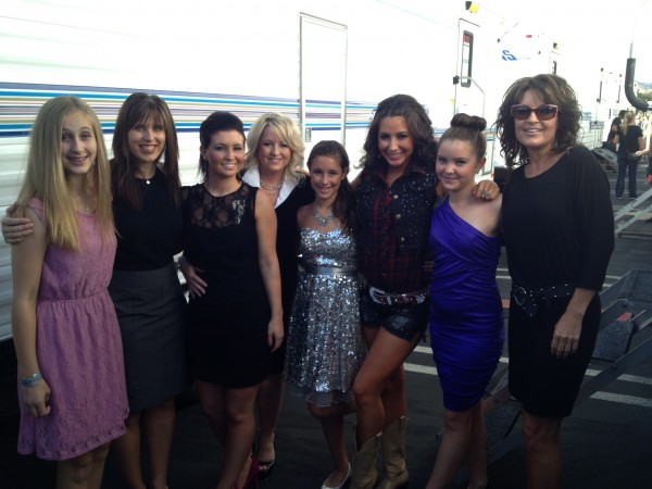 "Todd Palin took this photo of ""the girls"" who were with Bristol before her dance.  Above is Camille, me, Willow, Aunt Molly, McKinley, Bristol, Piper, and Sarah Palin.  Again, what a way to spend Fall Break!"